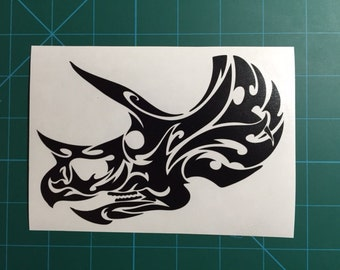 Tribal Triceratops Decal 4x6