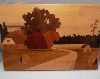 Vintage Marquetry Wood Inlaid Wall Art Picture Scenic Farm Cottage Hay Field Glossy Finish Inset Hanger on Back