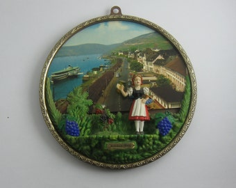 Vacation Travel Souvenir Rudesheim am Rhein (Germany): Old, raised panorama screen of plastic. Diameter about 15 cm. Probably 70s. VINTAGE