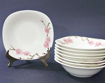 Metlox,Poppytrail, Peach Blossom, Berry/Dessert Bowls Vintage Lot of 8 Bowls