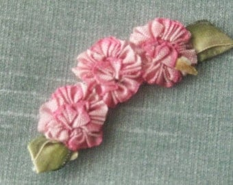 Antique (1920's) Handmade Floral Ribbonwork Applique from France - Crafts, Sewing, Collector of 20's Boudoir Items
