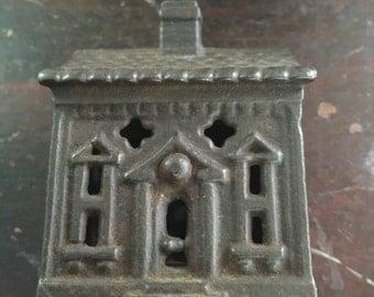 Small cast iron house,colonial,still bank circa 1920