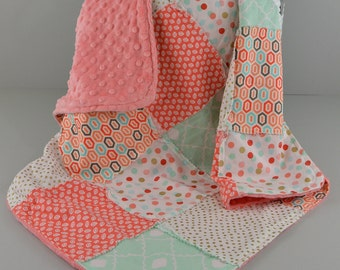 Baby Blanket Coral, Mint and Gold Patchwork Minky  ID# B0416