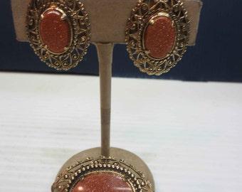 Gold Stone Oval Brooch Vintage Pin Copper Sparkle Art Nouveau Frame