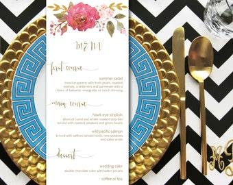 Garden Wedding Menu Printable - CUSTOMIZED printable menu, table menu, dinner menu printable, rustic wedding, spring summer wedding