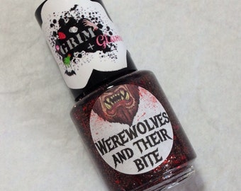 SALE--Werewolves and Their Bite Nail Polish (Halloween Nail Polish,Glitter Nail Polish,Glitter Nail Topper,Nail Art,Nail Care,Beauty,Makeup)
