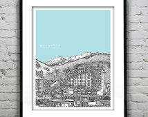 Whistler BC Poster Print City Skyline Canada Art Print British Columbia Version 2