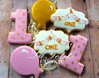 Pink and Gold Birthday Sugar Cookies (1 dozen)