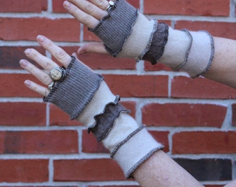 Arm Warmers Browns 100% Cashmere Katwise inspired