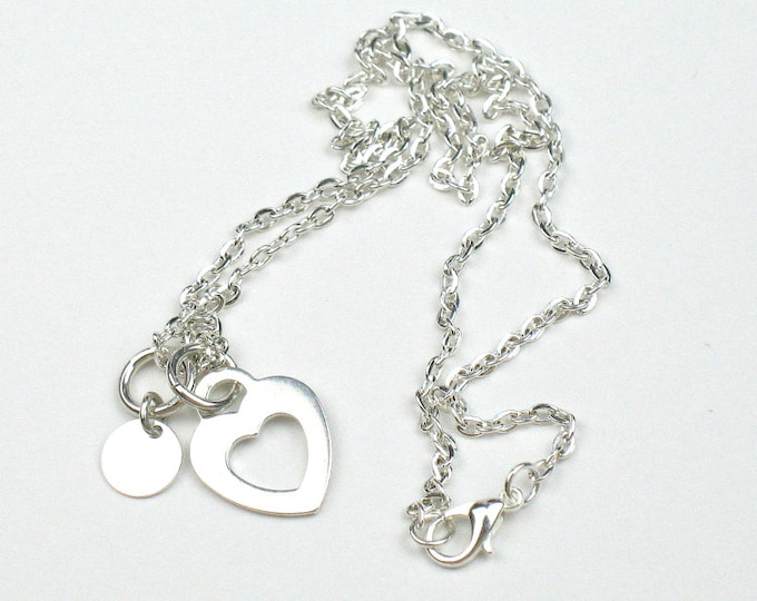 Heart Necklace in Silver with Heart and Disc Charms / Romantic Gift for Her
