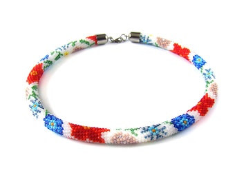 Gardening Gift Floral beaded crochet rope Red white blue necklace Wildflower necklace Unique gift exclusive necklace Flowers jewelry