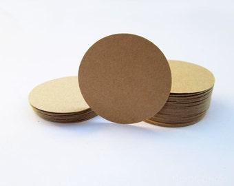 2 Inch Two Tone Brown Round Kraft Tag, Circle Tag Set of 100