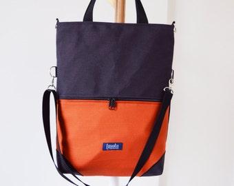 Large fold over canvas tote bag shopping bag casual fold over tote vegan school bag waterproof water resistant orange book bag for women