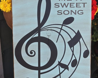 Sing me a sweet song wal hanging, music note decor, music gift, music wall art, music wall decor, musicians gift, robins egg blue decor
