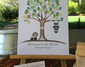 Customizable Thumb print tree guest book, tan Owl and woodchuck Fingerprint tree guest book, woodland animals baby shower guest book finger