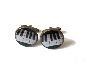 PIANO CUFFLINKS - Music Cufflinks - Piano Gifts For Men - Music Lover Gift - Music Wedding -wedding cufflink - groom - groomsmen - pianist