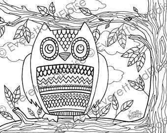"Digital Download ""Silly Owl"" Coloring Page"