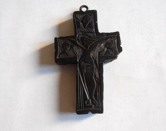 antique hand carved wooden cross