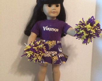 American Made 18 inch doll Clothes -  Vikings Cheerleader Outfit