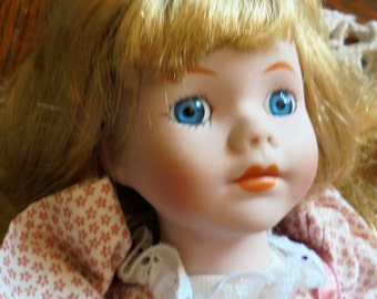 Porcelain, Soft Body Doll, 16 Inch, Heritage Mint, 1989, Blonde with Blue Eyes, Hand Painted Features, Calico Dress, SALE