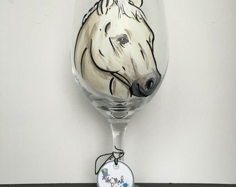 Horse Wine Glass - Horse Gift - Equestrian Gift - Pet Portrait- Horse Portrait - Horse Glass