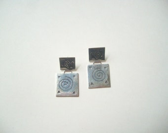 Vintage sterling silver square earrings, square disc dangle, engraved swirls, square modern, silver studs