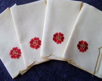 Poppy Napkins, Poppy Serviettes, Poppy Rose Napkins, Poppy Rose Serviettes, Vintage Poppies, Set of 4 Vint