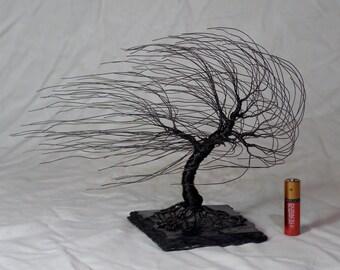 Black Iron Wire Windswept Sculpture #1517