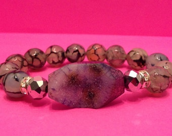 Gray Agate Stretch Bracelet