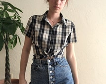 Chiffon Plaid Short Sleeve Button Up