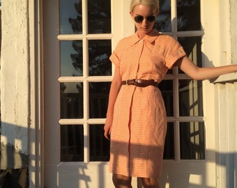 90s does 50s Salmon Gingham Day Dress