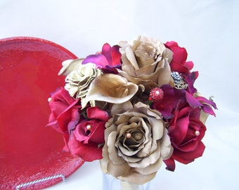 Somonya's Red Gold Vintage Brooch Bouquet Going to India