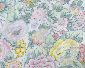 "Liberty of London Fabric Scrap ""Elysian"" Pastel Floral Cotton Tana Lawn 7 x 12"""