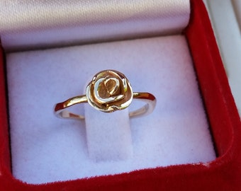 Statement Gold Ring, 14K Yellow Gold Ring, Flower Gold Ring, Handmade Gold Ring, Promise Gold Ring, Friendship Gold Ring, christmas gift