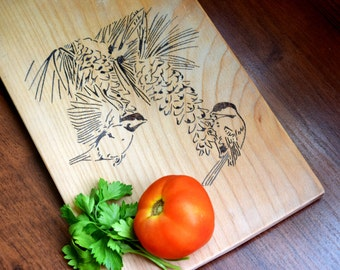 Personalized Cutting Board Birds Rustic Wedding Chopping block Engraved kitchen bread board serving board Bridal Shower Gift Couple gift
