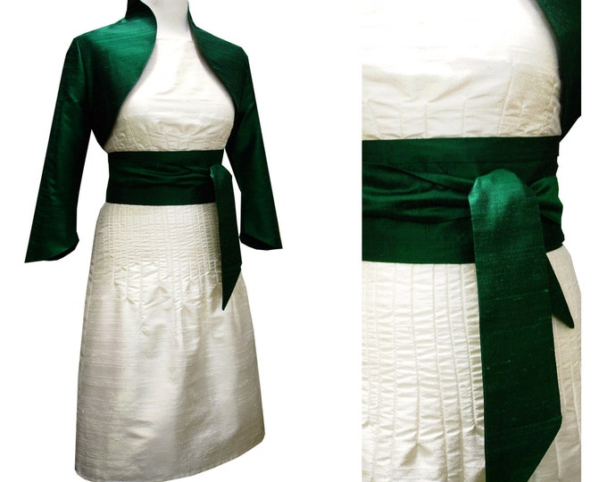 Wild silk dupioni Bolero with  three quarter lenght sleeve short jacket and Obi sash offered in many different colors