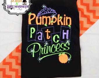 Halloween Pumpkin Patch Princess Embroidered Shirt - Embroidered Halloween Shirt - Girls Halloween Outfit - Pumpkin Patch Princess