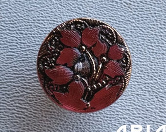 CZECH GLASS BUTTON: 18mm Flower Handpainted Czech Button, Pendant, Cabochon (1)