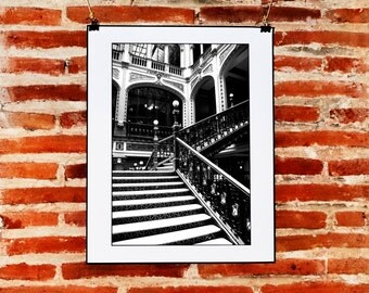 Black and White Architecture Photography Wall Art, Printable Instant Download Wall Print, Black and White Wall Decor, Mexico City Photo