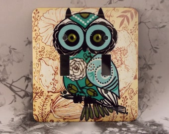 Metal Owl Double Toggle Light Switch Covers - Owl Light Switch - Owl Toggle - 2T Double Gage