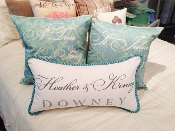 Wedding Pillow Personalized Bride And Groom Names Pillow