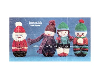 Vintage toy mini doll Knitting Knit Knitted Pattern PDF 572 from ToyPatternLand and WonkyZebra