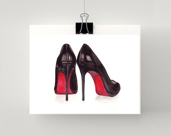 PRINT / ARTWORK of Christian Louboutin Black Stiletto with red sole