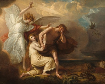 """Benjamin West : """"Expulsion of Adam and Eve from Paradise"""" (1791) - Giclee Fine Art Print"""