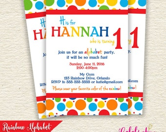 Rainbow Alphabet Digital Printable Birthday Invitation
