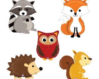 SALE! Large Woodland Animal Balloons, Set of 5 - Fox, Raccoon, Hedgehog, Squirrel, Owl