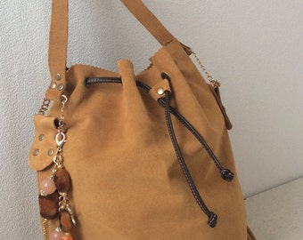 Leather tote bag. Orange bag. Shoulder leather bag. Casual bag.