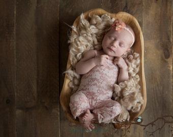 newborn photo prop coral/pale pink stretch lace romper headband girl