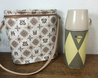 Vinyl Lunch Bag & Thermos *FREE SHIPPING* Zip Around Brunch Bag