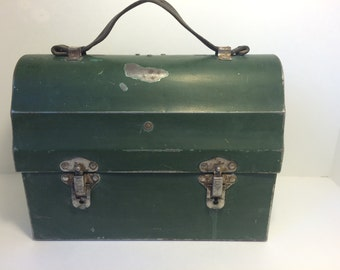 Domed Metal Lunchbox *FREE SHIPPING* Vintage Green HotaKold - with Leather Handle, Farmhouse Antique